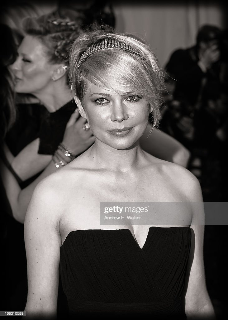 image has been digitally processed and converted to black and white] Michelle Williams attends the Costume Institute Gala for the 'PUNK: Chaos to Couture' exhibition at the Metropolitan Museum of Art on May 6, 2013 in New York City.