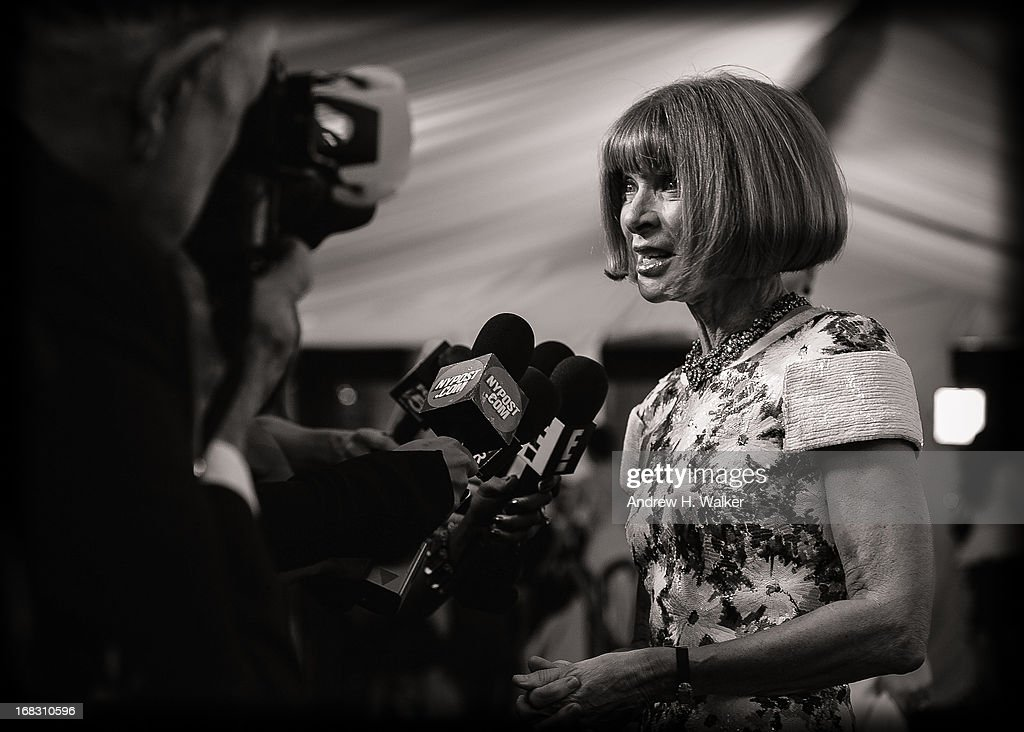 image has been digitally processed and converted to black and white] Anna Wintour attends the Costume Institute Gala for the 'PUNK: Chaos to Couture' exhibition at the Metropolitan Museum of Art on May 6, 2013 in New York City.