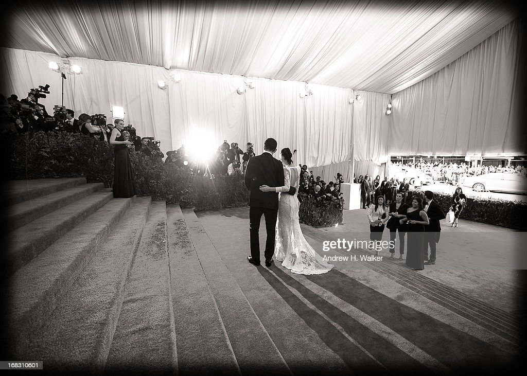 image has been digitally processed and converted to black and white] Rooney Mara and Riccardo Tisci attend the Costume Institute Gala for the 'PUNK: Chaos to Couture' exhibition at the Metropolitan Museum of Art on May 6, 2013 in New York City.