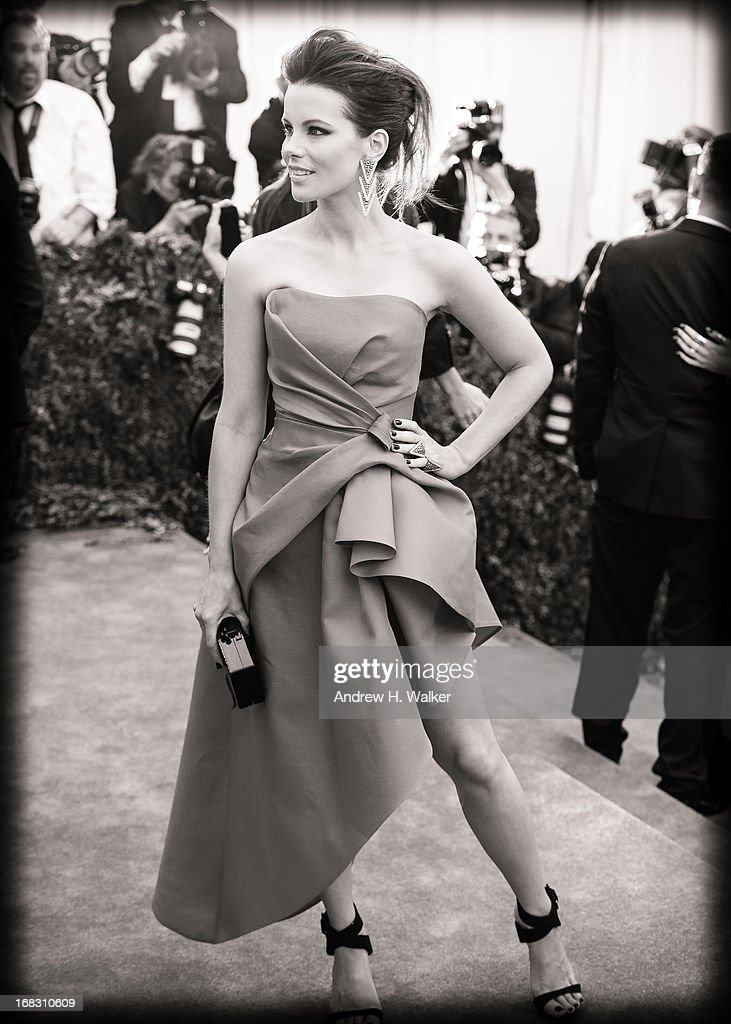 image has been digitally processed and converted to black and white] Kate Beckinsale attends the Costume Institute Gala for the 'PUNK: Chaos to Couture' exhibition at the Metropolitan Museum of Art on May 6, 2013 in New York City.
