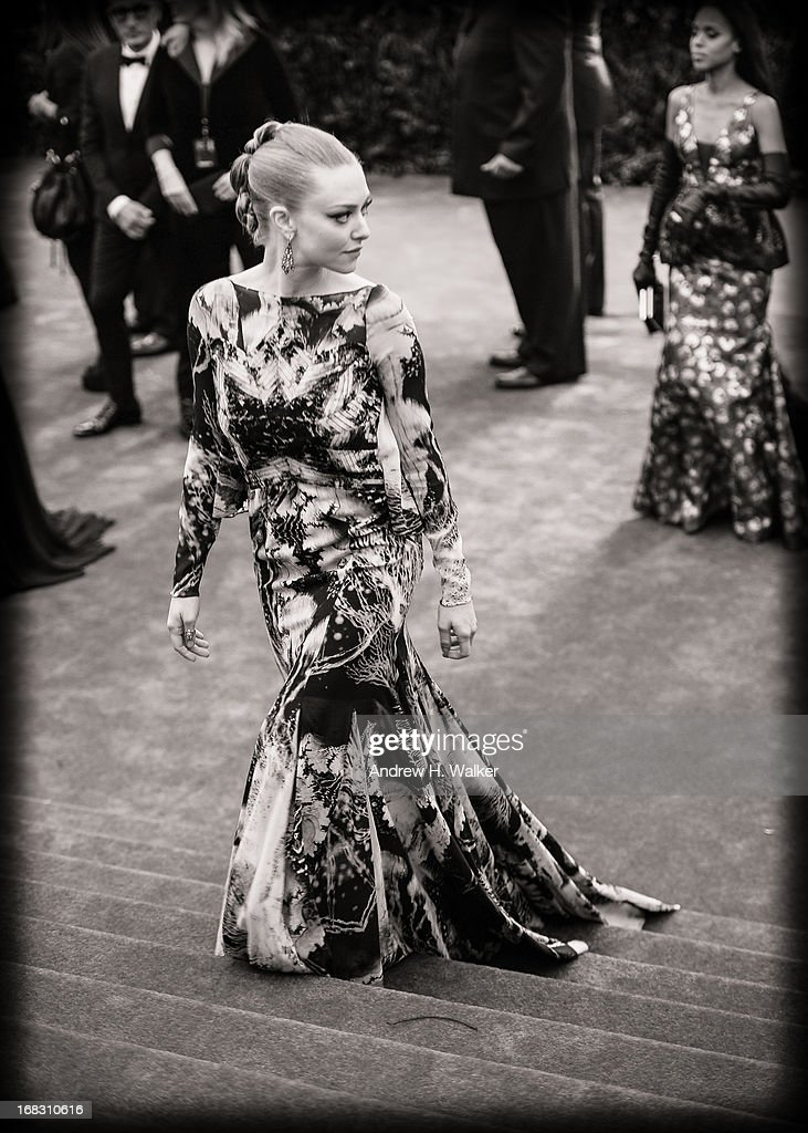 image has been digitally processed and converted to black and white] Amanda Seyfried attends the Costume Institute Gala for the 'PUNK: Chaos to Couture' exhibition at the Metropolitan Museum of Art on May 6, 2013 in New York City.
