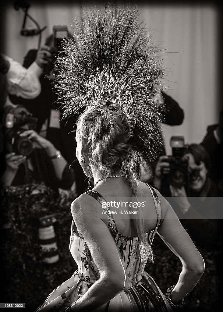 image has been digitally processed and converted to black and white] Sarah Jessica Parker attends the Costume Institute Gala for the 'PUNK: Chaos to Couture' exhibition at the Metropolitan Museum of Art on May 6, 2013 in New York City.