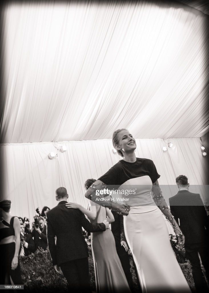 image has been digitally processed and converted to black and white] Leelee Sobieski attends the Costume Institute Gala for the 'PUNK: Chaos to Couture' exhibition at the Metropolitan Museum of Art on May 6, 2013 in New York City.