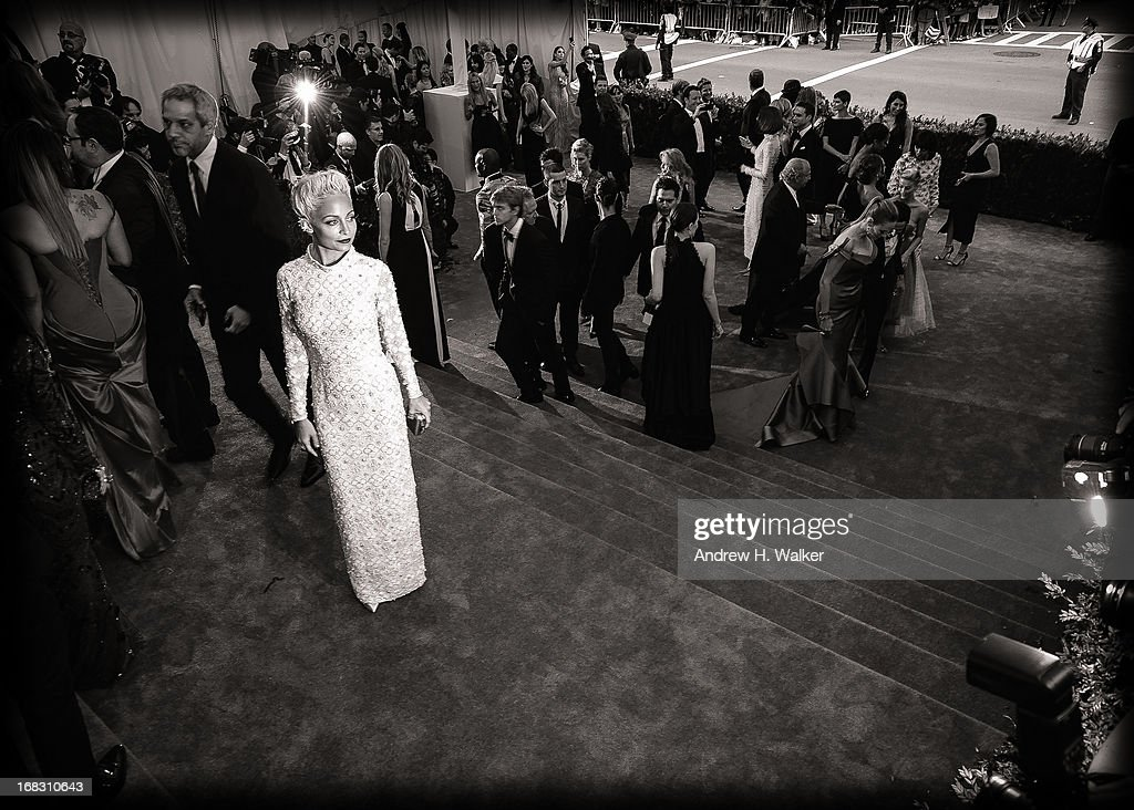 image has been digitally processed and converted to black and white] Nicole Richie attends the Costume Institute Gala for the 'PUNK: Chaos to Couture' exhibition at the Metropolitan Museum of Art on May 6, 2013 in New York City.