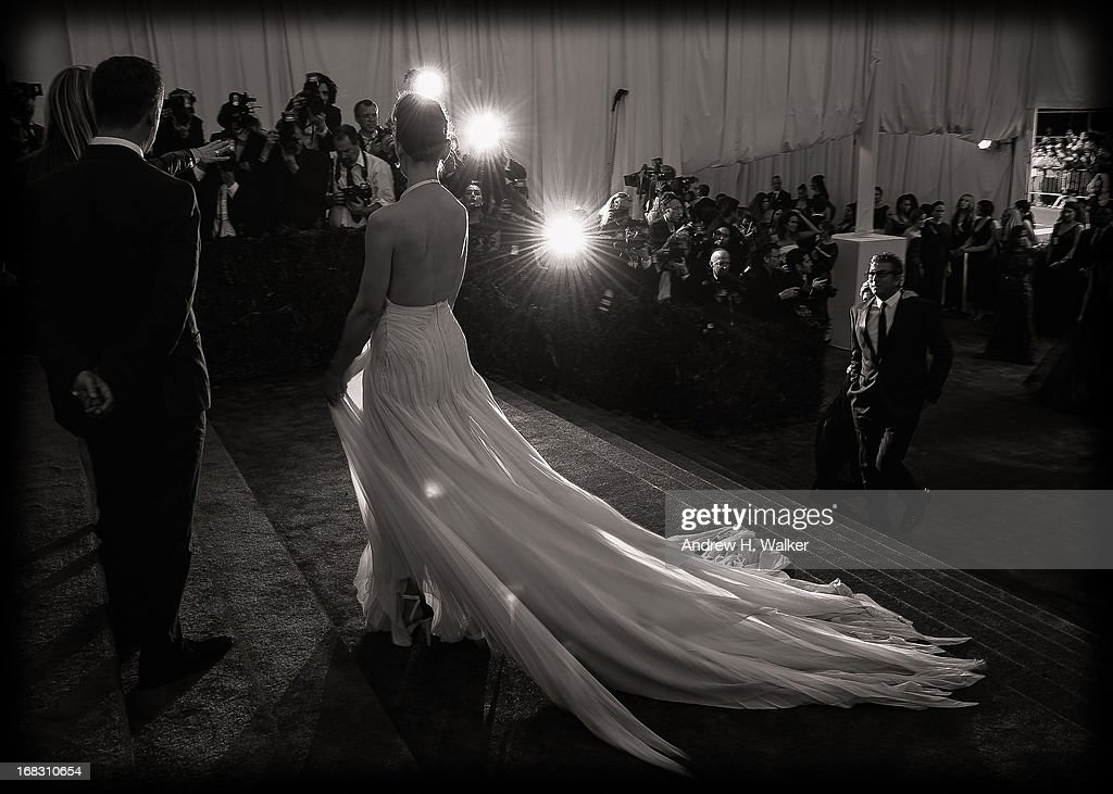 image has been digitally processed and converted to black and white] Katie Holmes attends the Costume Institute Gala for the 'PUNK: Chaos to Couture' exhibition at the Metropolitan Museum of Art on May 6, 2013 in New York City.