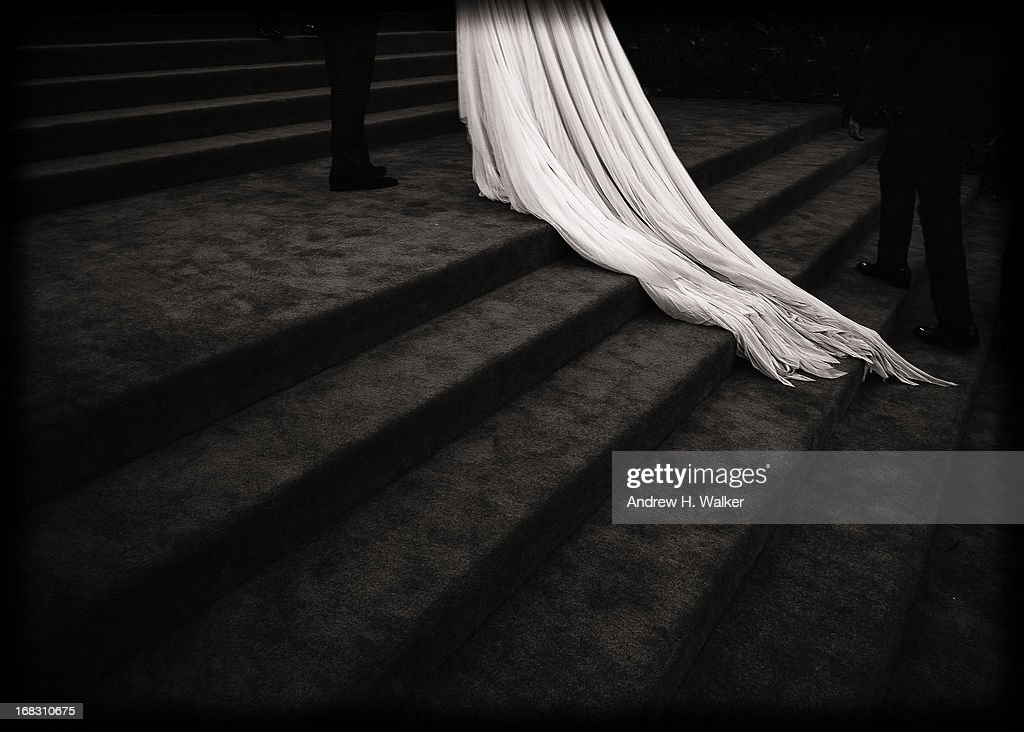 image has been digitally processed and converted to black and white] Katie Holmes (dress detail) attends the Costume Institute Gala for the 'PUNK: Chaos to Couture' exhibition at the Metropolitan Museum of Art on May 6, 2013 in New York City.