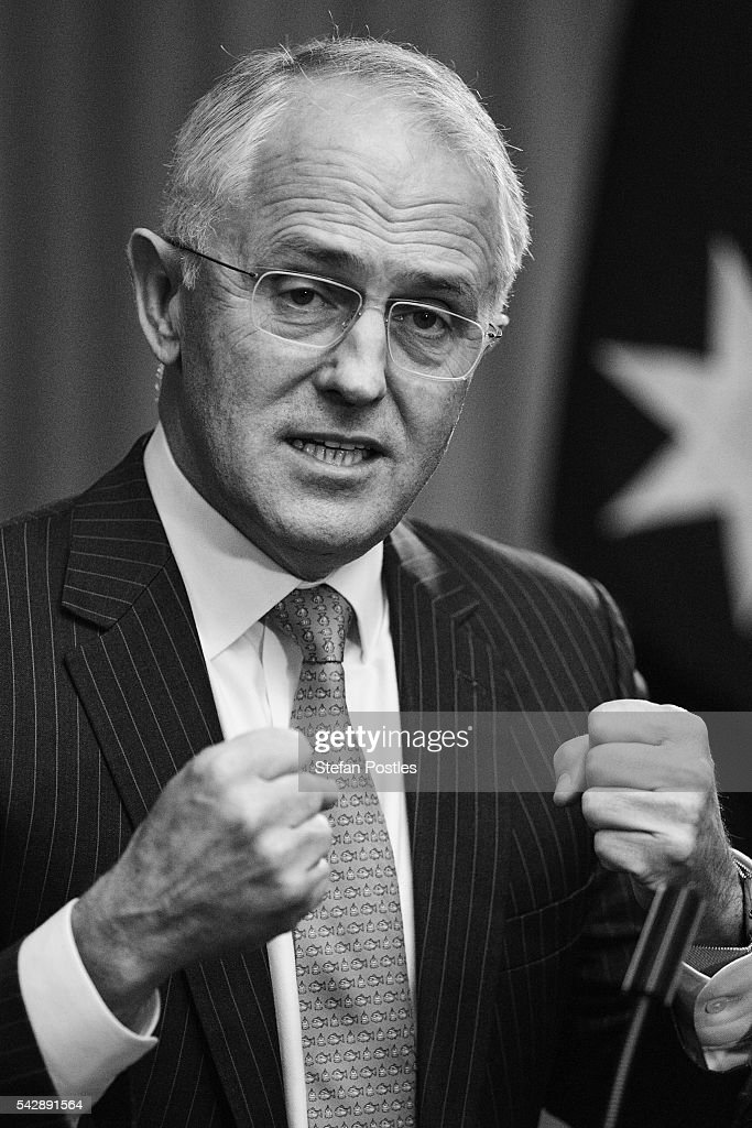 Image has been shot in black and white, no colour version available.) Prime Minister <a gi-track='captionPersonalityLinkClicked' href=/galleries/search?phrase=Malcolm+Turnbull&family=editorial&specificpeople=2125595 ng-click='$event.stopPropagation()'>Malcolm Turnbull</a> speaks to the media during a joint press conference with Treasurer Scott Morrison on June 25, 2016 in Sydney, Australia. British citizens voted in a referendum (also known as the Brexit) to leave the European Union which has caused uncertainty across the world. Within hours of the result being announced the ASX lost almost A$50 billion before trading closed on Friday.
