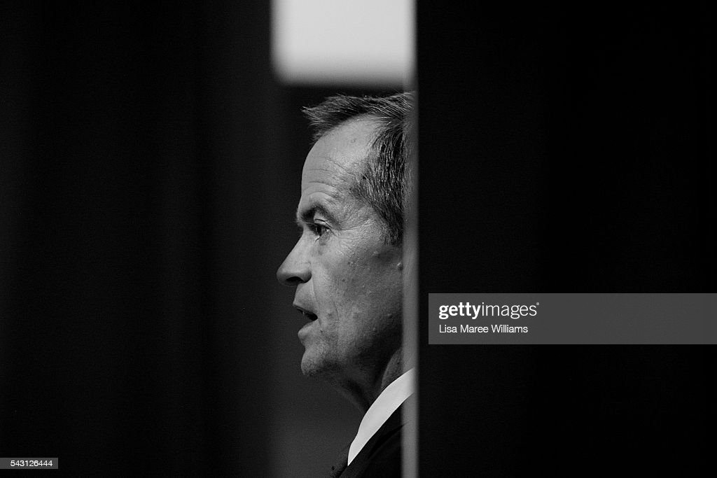 Image has been shot in black and white, no colour version available.) Opposition Leader, Australian Labor Party <a gi-track='captionPersonalityLinkClicked' href=/galleries/search?phrase=Bill+Shorten&family=editorial&specificpeople=606712 ng-click='$event.stopPropagation()'>Bill Shorten</a> speaks to the public during a visit to the Caboolture RSL on June 25, 2016 in Caboolture, Australia. <a gi-track='captionPersonalityLinkClicked' href=/galleries/search?phrase=Bill+Shorten&family=editorial&specificpeople=606712 ng-click='$event.stopPropagation()'>Bill Shorten</a> launched his positive policies for Queensland including a overhaul of the visa system and continues to campaign heavily on Medicare, promising to make sure it isn't privatised if the Labor Party wins the Federal Election on July 2.