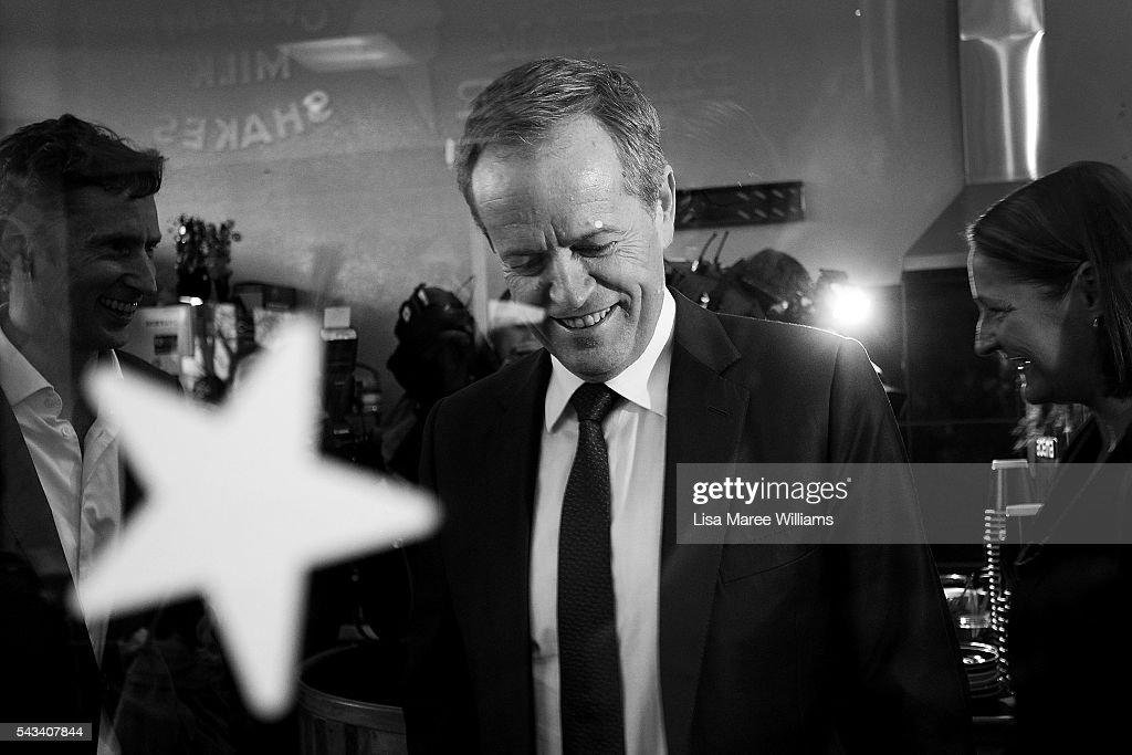 Image has been shot in black and white, no colour version available.) Leader of the Opposition, <a gi-track='captionPersonalityLinkClicked' href=/galleries/search?phrase=Bill+Shorten&family=editorial&specificpeople=606712 ng-click='$event.stopPropagation()'>Bill Shorten</a> visits local business people during a street walk on June 28, 2016 in Nowra, Australia.The latest Newspoll shows the Coalition has pulled ahead of the Labor Party, less than a week out from the July 2 election. On a two-party preferred basis, the Coalition now leads Labor 51-49, breaking the deadlock from the last poll.