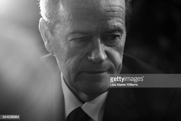Image has been shot in black and white no colour version available Opposition Leader Australian Labor Party Bill Shorten meets staff at the Royal...