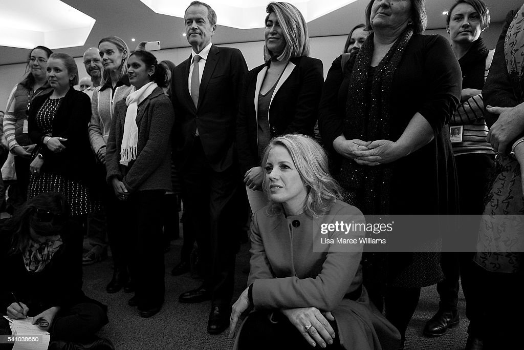 Image has been shot in black and white, no colour version available.) Opposition Leader, Australian Labor Party <a gi-track='captionPersonalityLinkClicked' href=/galleries/search?phrase=Bill+Shorten&family=editorial&specificpeople=606712 ng-click='$event.stopPropagation()'>Bill Shorten</a> and wife Chloe Shorten visit Northcott disability support centre in Parramatta on July 1, 2016 in Sydney, Australia.<a gi-track='captionPersonalityLinkClicked' href=/galleries/search?phrase=Bill+Shorten&family=editorial&specificpeople=606712 ng-click='$event.stopPropagation()'>Bill Shorten</a> is campaigning heavily on Medicare, promising to make sure it isn't privatised if the Labor Party wins the Federal Election on July 2.
