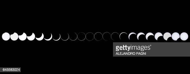 Image made with pictures taken on February 26 2017 showing an annular solar eclipse as seen from the Estancia El Muster near Sarmiento Chubut...