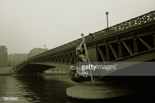Image of a Bridge Spreading Over the Seine, a Statue In Front of it, Side View, Low Angle View, Paris, France