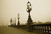 Image of a Decorative Bridge in Paris Under a Grey Sky, Side View, Paris, France
