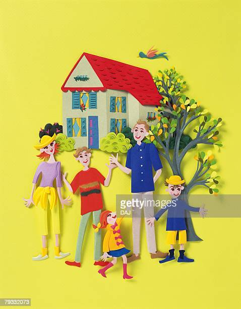 Image of a Family Outside Their House, Front View, Side View, Paper Craft