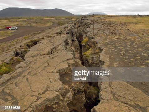 Image of a large fissure in the earth