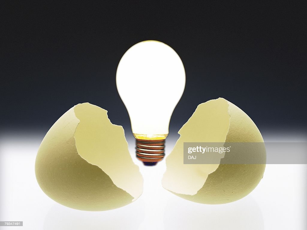 image of a light bulb coming out of an egg front view cg stock