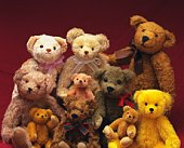 Image of a Lot of Different Teddy Bears, Gathered Together, Front View
