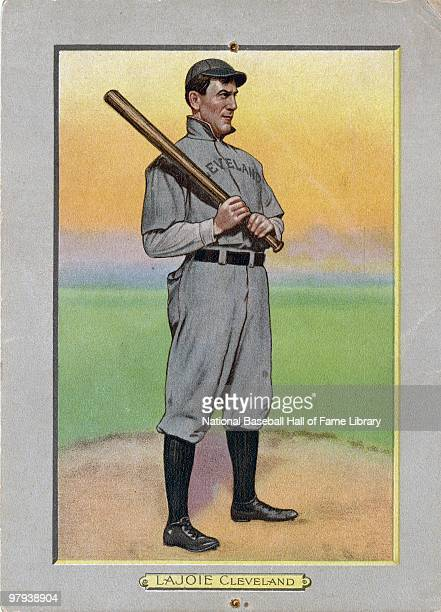 1911 image of a Turkey Red baseball card of Napoleon Lajoie of Cleveland