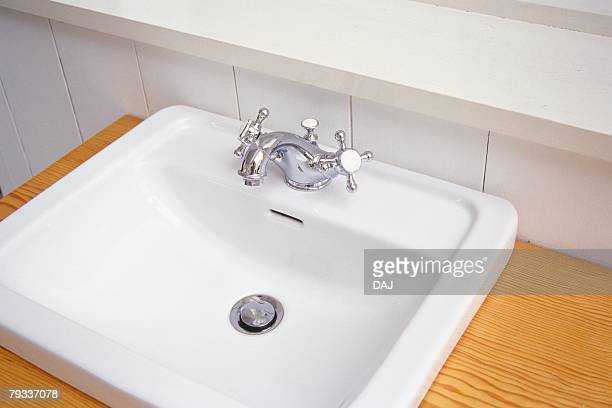 Image of a White Washbasin, High Angle View, Side View