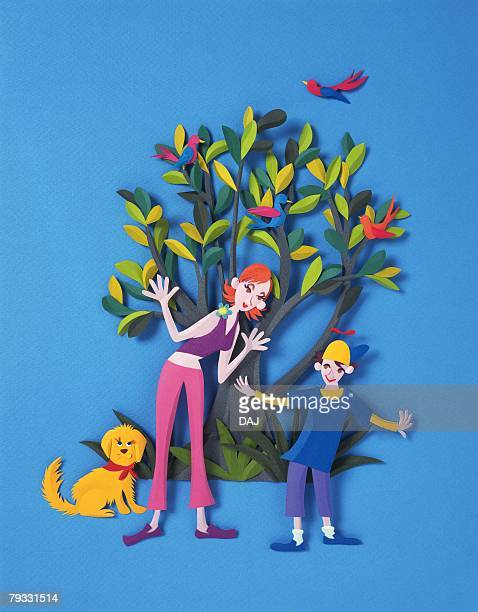 Image of a Young Adult Woman and a Little Boy, Standing In Front of a Large Green Bush, Front View, Paper Craft