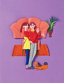 Image of a Young Couple in Their Living room, Side View, Paper craft