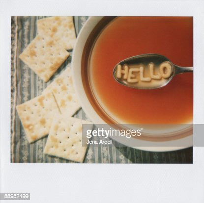 Image of Alphabet Soup Letters Greeting Hello : Stock Photo
