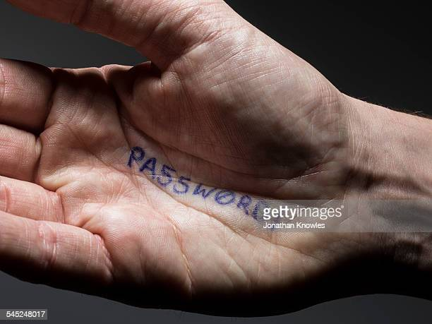 Image of an male hand with Password written on