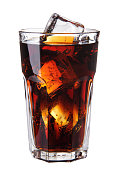 Image of Cola glass with ice cubes isolateed on white background