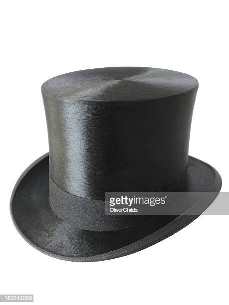 Image of crisp black top hat isolated on a white background