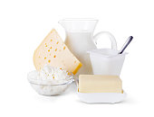 Milk, cheese and other dairy products isolated on white background with clipping path.