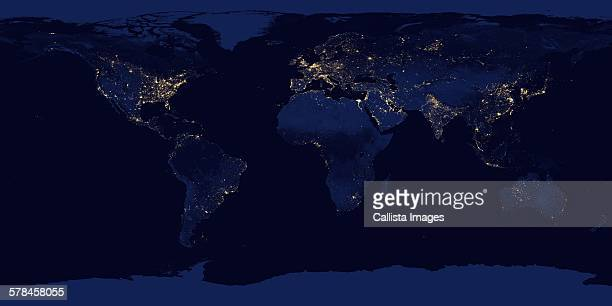 Image of Earth at night. Composite assembled from data acquired by Suomi National Polar-orbiting Partnership (Suomi NPP) satellite over nine days in April 2012 and thirteen days in October 2012