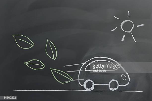 Image of Electric car on a blackboard