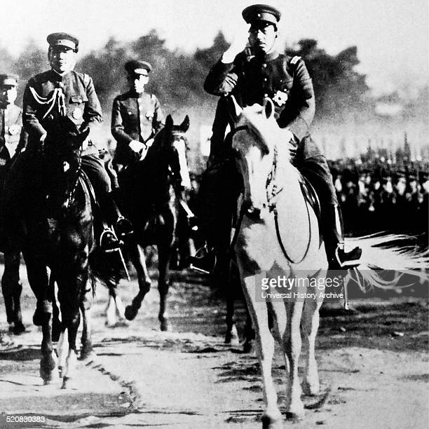 Image of Emperor Hirohito riding his horse during an army inspection He was the Emperor of Japan from 25th of December 1926 Until his death in 1989...