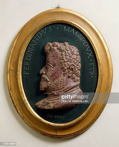 Image of Ferdinando I de Medici cardinal and from 1587 the Grand Duke of Tuscany oval relief in porphyry by Francesco di Giovanni Ferrucci also known...