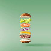 Floating tasty Burger on green  backround