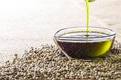 Image of health food, hemp oil