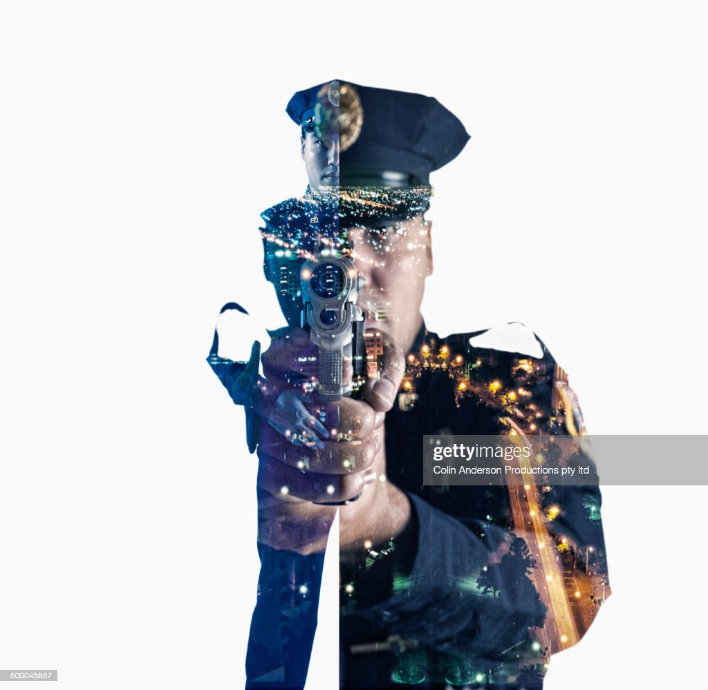 Image of mixed race police officer over cityscape : Stock Photo