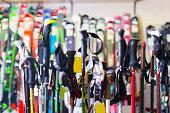 Image of modern skis in sport store indoor