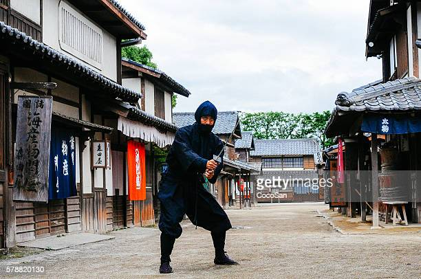Image of ninja in traditional Japanese village