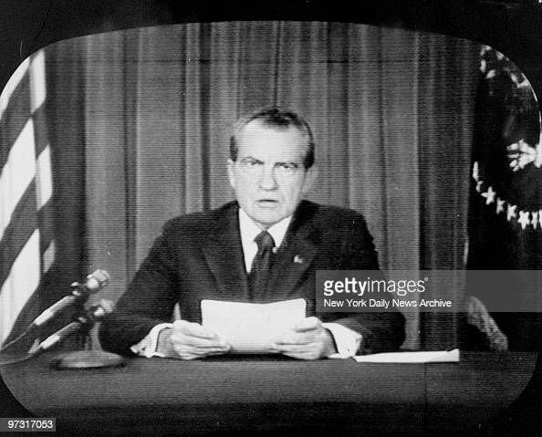 TV image of President Richard Nixon announcing his decision to resign