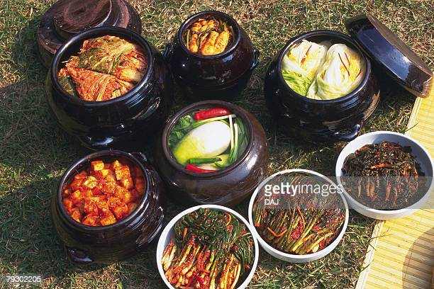 Image of Several Buckets With Different Kinds of Kimchi, High Angle View