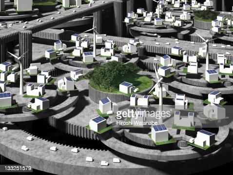 Image of smart grid using renewable energy : Stock Photo