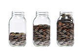 Image of step of pile of coins in glass jar for business, saving, growth, economic concept isolated on white background