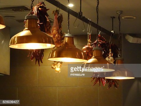 photo image of stylish hanging copper kitchen lamps lights in row. Black Bedroom Furniture Sets. Home Design Ideas