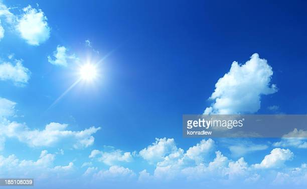 XXL Image of Sun Shining Between Clouds - Cloudscape Panorama