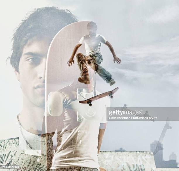 Image of teenage boy over skateboarders