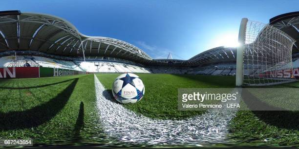 A 360 image of the Adidas official matchball during the UEFA Champions League Quarter Final first leg match between Juventus and FC Barcelona at...