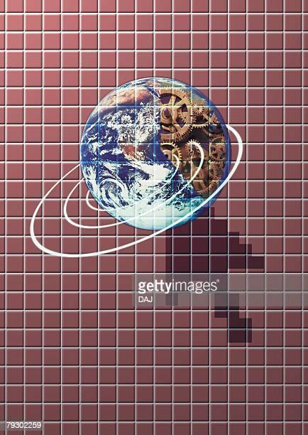 Image of the Earth and cursor, CG, composition