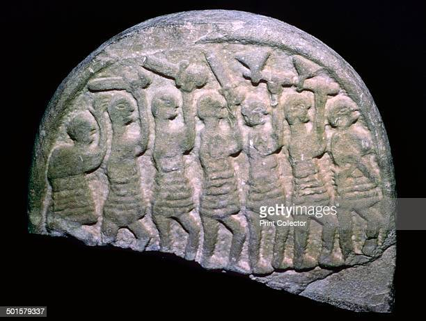 Image of the Lindisfarne Stone from Holy Island Northumbria It shows seven warriors possibly vikings their first recorded raid on Lindisfarne was in...